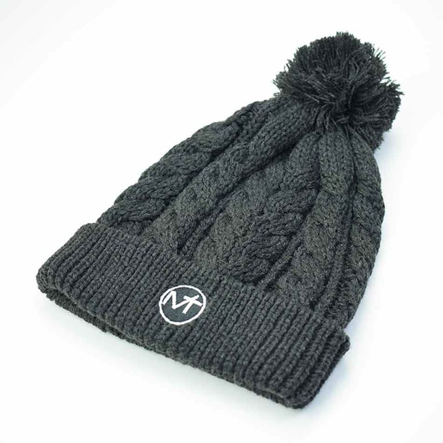 Afbeelding van Cable Knit Bobble Hat - Charcoal